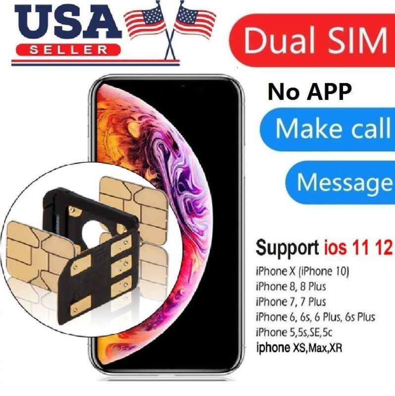 Dual SIM Card Adapter SIMHUB Seperator Nano SIM Tray For iPhone X 8 7 6s 6 Plus