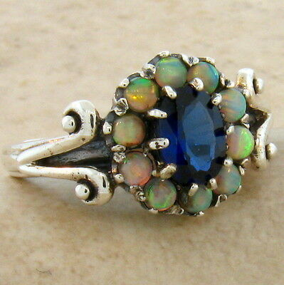 BLUE LAB SAPPHIRE & OPAL ANTIQUE DESIGN .925 STERLING SILVER RING SIZE 7.75,#311