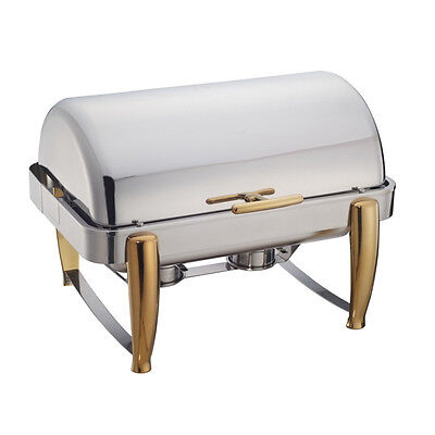 Winco 101A, 8-Quart Full Size Virtuoso Oblong Roll Top Chafer with Gold Accents ()