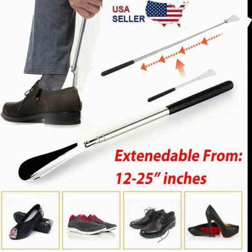"""Shoe Horn Extra Long Handle Stainless Steel 25"""" Metal Shoes Remover Extendable"""