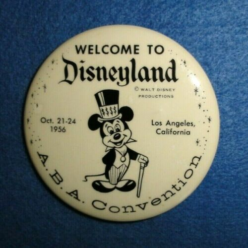 Rare 1956 Disneyland Mickey Mouse Pinback Button, A.B.A. Convention Visitor.