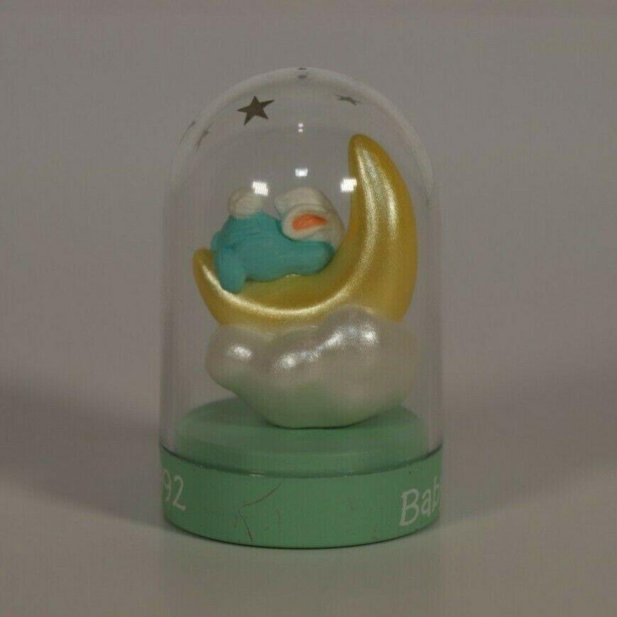 Hallmark Merry Miniatures 1992 Baby s First Christmas Bunny Moon Globe 2 - $4.00