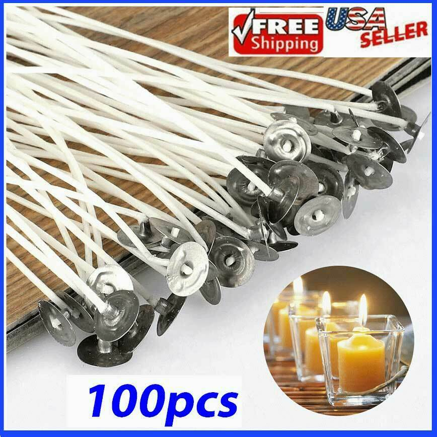 Candle Wicks 6 Inch Cotton Core Candle Making Supplies Pre Tabbed NEW 100pcs Candle Making & Soap Making