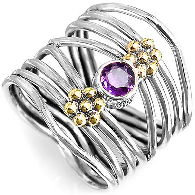 Gemstone Sterling Silver Flower Ring - Flower Amethyst Ring Solid Sterling Silver Gemstone Statement Wrap Size 8 9 10