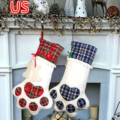 Large Paw Christmas Stocking For Dog Cat Christmas Gift Bags Xmas Tree Ornament - Large Christmas Stocking