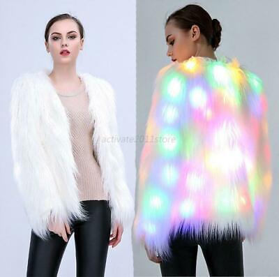 Damen LED Light Faux Fur Mantel Jacke Frauen - Pelz Damen Kostüme