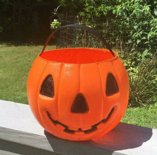 Vintage AJ Renzi Halloween Blow Mold 2 Sided Cat Pumpkin Large Trick-Treat Pail