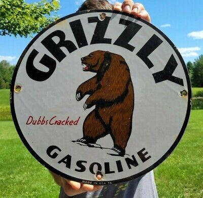 VINTAGE DATED '36 GRIZZLY GASOLINE PORCELAIN ENAMEL GAS PUMP ADVERTISING SIGN