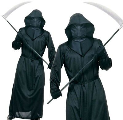 Adult Black MESH FACE ROBE Fancy Dress Costume Halloween Outfit Horror Scary (Black Face Kostüm)