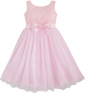 Girls-Dress-Rose-Flower-Pink-Wedding-Bridesmaid-Child-Clothes-Size-2-12-New