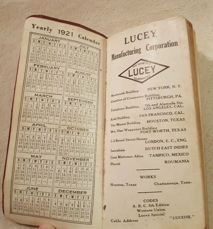 Vintage Antique Lucey Manufacturing Corporation 1921 calendar, product list