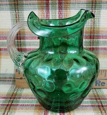 Small Vtg Fenton L.G. Wright Emerald Green Coin Dot Pitcher Clear Applied (Coin Dot Pitcher)