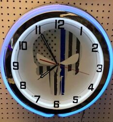 18 Thin Blue Line Punisher Police Officers Sign Double Neon Clock