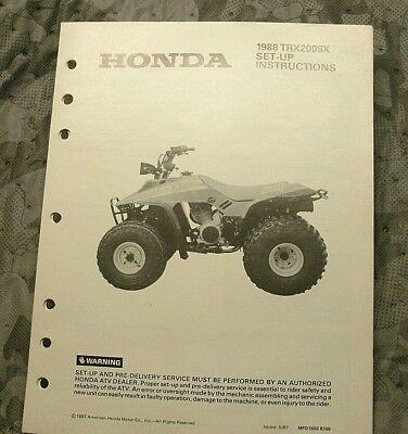 1988 Honda TRX200SX Dealer Set-up Manual Vintage ATV ATC TRX 200 SX
