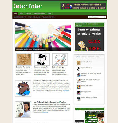 Cartoon Training Blog Website With Affiliate Store And Banners Domain