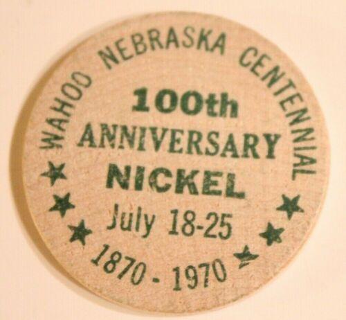 Vintage Wahoo Nebraska Wooden Nickel Centennial 1970