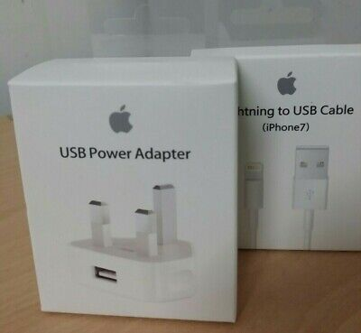 Apple Wall Charger Plug & USB Cable For iPhone XS XMAX 8 7 6 5S iPad BOXED