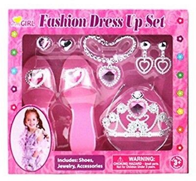 Princess Dress up Party Jewelry Accessorie Set Tiara Shoe Pretty Necklace Earing](Dress Up Pretty)