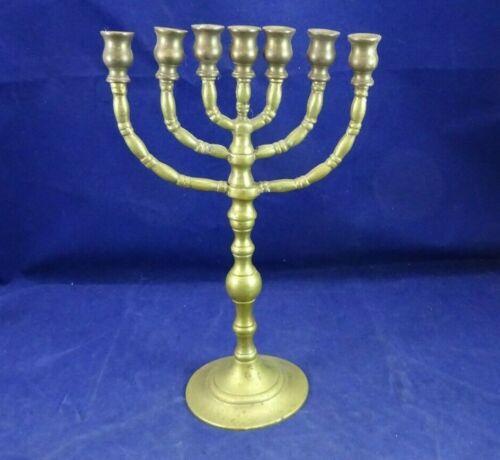 VINTAGE SOLID BRASS MENORAH OLD JEWISH HANUKAH CANDLE HOLDER CANDLEBRA UNBRANDED