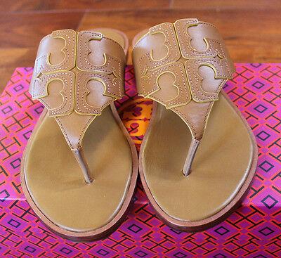LAST 1 NIB Tory Burch Jamie Sandal Thong Leather LOGO Royal Tan Flip Flop 8 $195