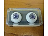 Vintage New Glastic Realistic Eyes Glass Craft Doll Parts NOS 14 mm Hazel Green