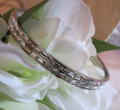 - Stainless Steel CZ Baguette Eternity Bangle-Size Large