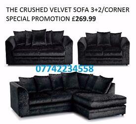 Brand new crushed velvet corner/3+2 seater suite