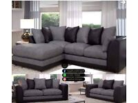 == ROYAL FURNISHING'S BRAND NEW BYRON LEATHER CHENILLE CORNER OR 3+2 SOFA SET ==