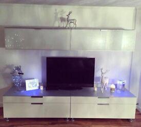 White & Silver Wall & TV Drawer Units