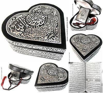 Kleine Quran Truhe Herz+Gebetskette Tesbih+Koran *Islam hijab Allah Muslim Abaya