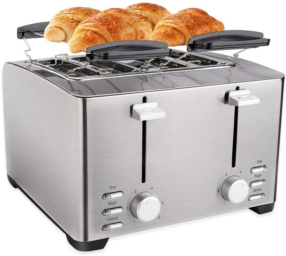 Slice Toaster, Extra Wide Slot for Bread, Stainless Steel,Warming Rack, 6 Shade