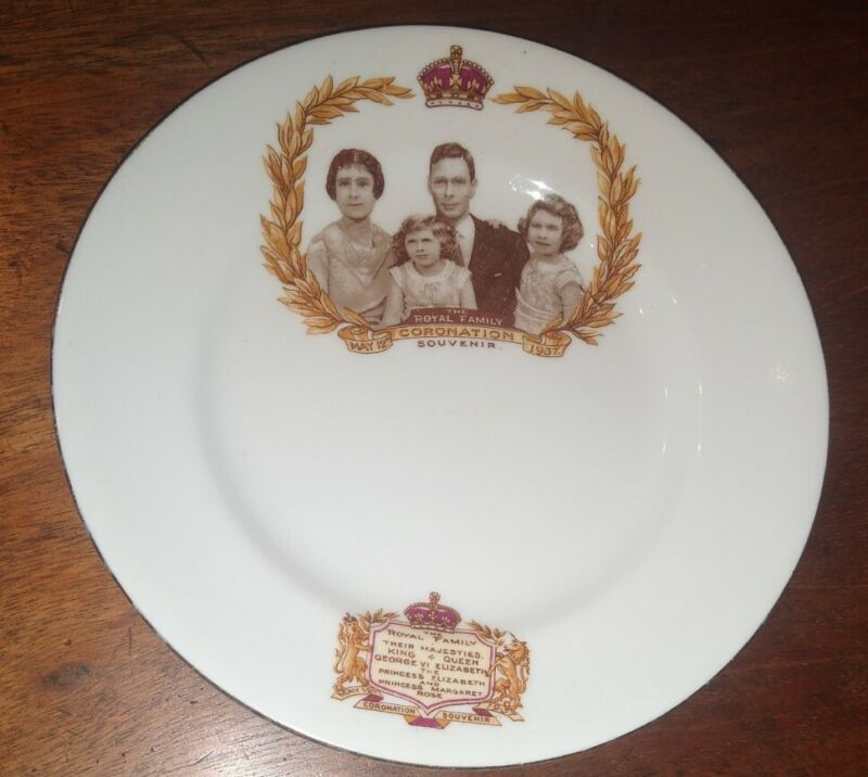 1937 ROYAL ALBERT Coronation Plate ~ King George VI & Queen Elizabeth & Family