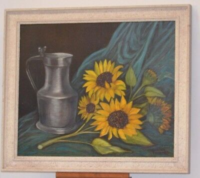 ANTIQUE PAINTING ON CANVAS STILL LIFE TIN AND SUNFLOWER PAINTING FRAME PANEL