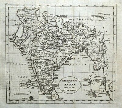 INDIA, BURMA MALAY PENINSULA SRI LANKA William Guthrie Original Antique Map 1793