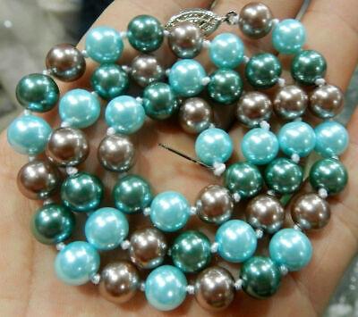 8mm Multi Color Pearl Necklace (New Silver 8mm 3 Multi-Color Round South Sea Shell Pearl 18