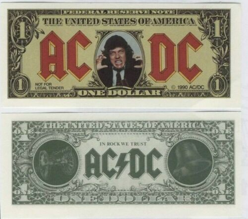 AC/DC Razors Edge MONEY TALKS Angus Young Promotional One Dollar Bill 1990