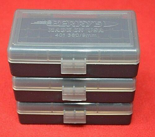 3 x 9mm/.380 Ammo Box / Case / Storage 50 Rnd Boxes SMOKE COLOR BRAND NEW