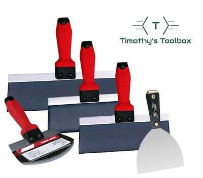 Wal-board Blue Steel Drywall Taping Knife Set Soft Grip - 4 Knives Mud Scoop