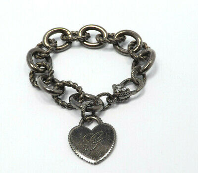 Judith Ripka Sterling Silver Black Verona Charm Heart Bracelet CZ heart Clasp G