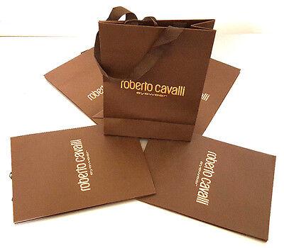 ROBERTO CAVALLI EYEWEAR BROWN PAPER GIFT SHOPPING BAGS LOT OF 5