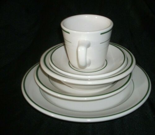 FIVE PIECE PLATE SET OF BUFFALO CHINA:DINNER PLATE,SALAD OR DESSERT PLATE,CEREAL