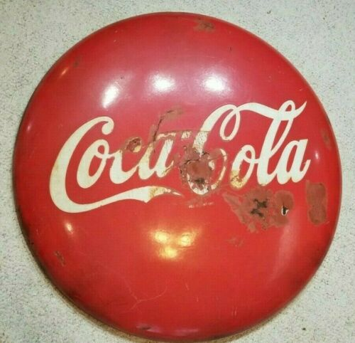 "Mid Century Coca Cola Original 36"" Porcelain Button Round Sign"