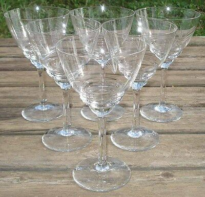 6 Bicchieri Da Acqua Cristallo Taglio Anni 1950's -1960's