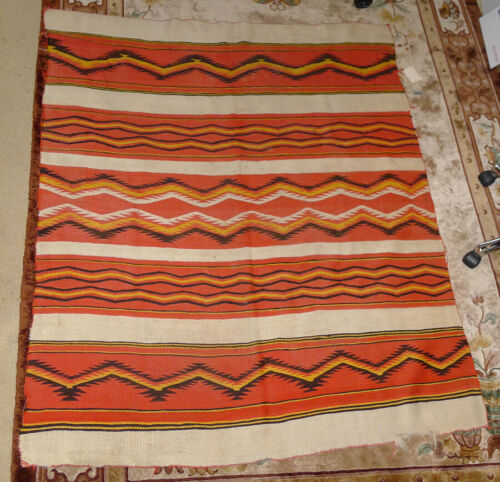Classic Antique Navajo Blanket 64 x 52 inches, BIA Certification circa 1890-1915