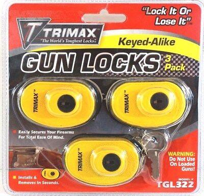 (TRIMAX Universal Gun Lock 3 Pack Trigger Guard Pistol Rifle Shotgun TGL322)