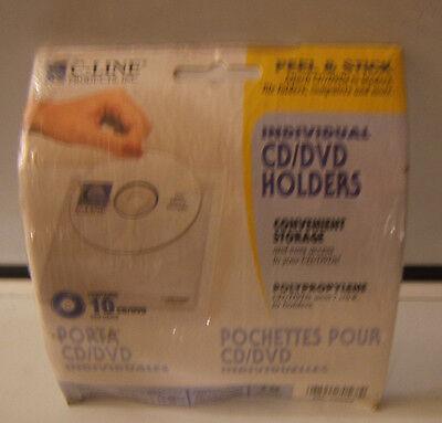 C-Line 10 CD/DVD Holders Self Adhesive Media Storage Packets 2 pack