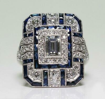 Vintage Ethnic Style Square Artificial Sapphire Cubic Zirconia Blue Silver Ring (Blue Sapphire Cubic Zirconia Ring)