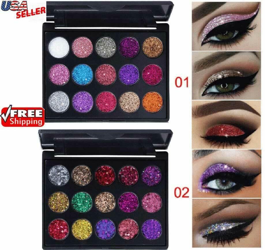 Glitter Eyeshadow 15 Colors Matte Makeup Kit Shimmer Eye Shadow Powder Palette Eye Shadow