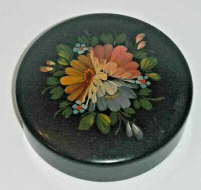USSR CCCP ROUND BLACK LACQUER BOX PINK INTERIOR HANDPAINTED FLOWERS ON LID