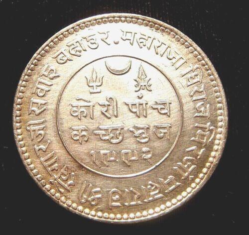 INDIA. Princely States. KUTCH. Silver 5 KORI 1936. Choice!